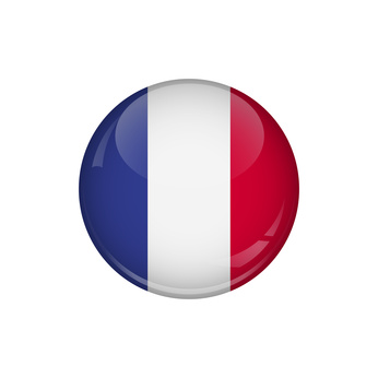 Flag of France. A round button with a glare. Round Flag emblem.