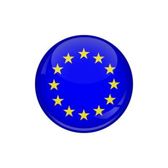 Flag of European Union. A round button with a glare. Round Flag emblem.