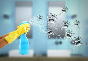 Housewife cleans determined with much cleaner spray to defeat the germs. 3D Rendering