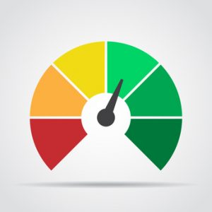 Speedometer icon. Colorful infographic gauge element with shadow. Vector illustration