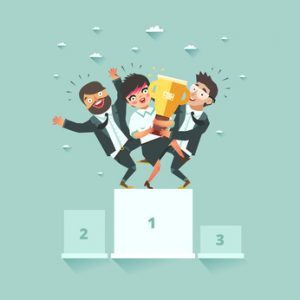 Successful business teamwork and cooperation concept. Three businessmen standing together on the winners podium with award. Vector illustration in flat style